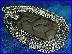 49MM David Yurman Forged Carbon Dog Tag Pendant with 22 necklace