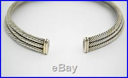 #8938 Exquisite David Yurman 3 Row Cable Choker Cuff Necklace 14k & Sterling