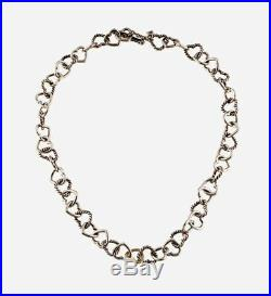 Auth DAVID YURMAN Silver 18k Gold Heart Link Chain Toggle Necklace, Dy Pouch