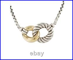 Auth David Yurman Belmont Double Curb Necklace 18k Gold Sterling Silver 16-17