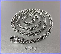 Authentic David Yurman 925 Sterling Silver 4mm Woven Wheat Chain Necklace 16