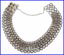 Authentic David Yurman Sterling 18k 172 g Large Chain Mail Link 14-15 Necklace