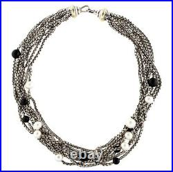 DAVID YURMAN Multistrand Pearl and Onyx Necklace