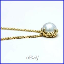 DAVID YURMAN NEW 18K Gold Chatelaine 8mm Petite Pearl Pendant Necklace 16-17