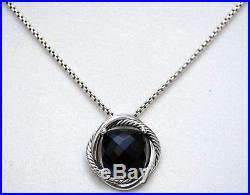 DAVID YURMAN New Black Onyx 14mm Infinity Pendant Necklace Sterling Silver