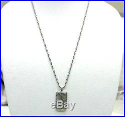 DAVID YURMAN New Mens Sterling Silver 41mm Forged Carbon Tag Necklace 26