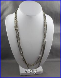 DAVID YURMAN Sterling 14K Gold 3mm Cable Wrap One Strand Pearl Station Necklace
