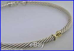 DAVID YURMAN Sterling Silver & 14K Gold Twisted Cable Choker Necklace 7mm 101 gm