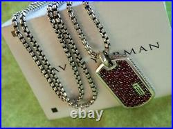 DAVID YURMAN Sterling Silver 22Necklace Chain and 30mm Red Ruby Dog Tag Pendant
