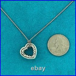 DAVID YURMAN Sterling Silver 925 18K Gold Cable Heart Pendant 18 Necklace