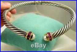 David Yurman 14k Gold Sterling Silver Pink Tourmaline Pearl Twist Cable Necklace