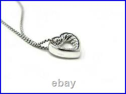 David Yurman 16-17 Engravables Open Heart Necklace in Sterling Silver NWT