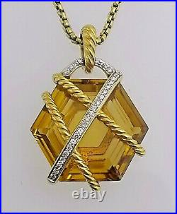 David Yurman 18 kt Gold Citrine and Diamond Cable Wrap Pendant With Necklace