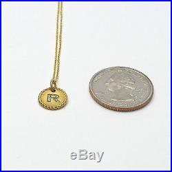 David Yurman 18k Gold Initial Letter R Diamond Disc Charm Necklace 16-18