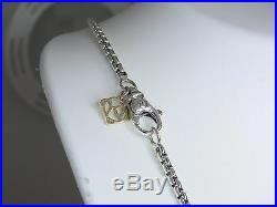 David Yurman 2.7mm Wide Box Chain Sterling Silver & 14k Dy Tag 16 In Necklace