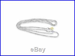 David Yurman 2.7mm Wide Box Chain Sterling Silver & 14k Dy Tag 16 Inch Necklace