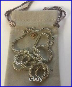 David Yurman 2.7mm x 22 Sterling Box Chain Necklace with14k Gold DY Logo