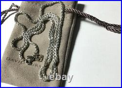 David Yurman 2.7mm x 26 Sterling Box Chain Necklace with14k Gold DY Logo
