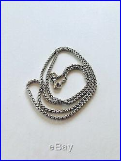 David Yurman 28 925 Sterling Silver Box Chain Necklace 2.7mm 14k Logo Mint