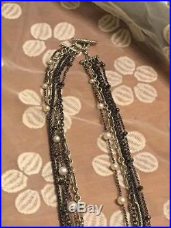 David Yurman 34 Multi 5 strand Necklace with Pearls and Sterling Silver