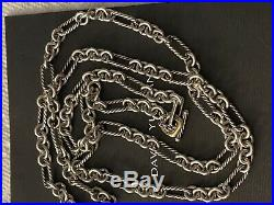 David Yurman 35 Sterling Silver & 18K Gold Figaro Chain Necklace Toggle Clasp