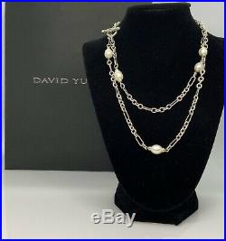 David Yurman 925 & 18K Gold-Figaro Toggle Necklace with Pearls 36 DY237