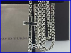 David Yurman 925 Pave Cross Necklace With Black Diamonds 26 Inches Long