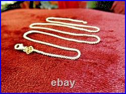 David Yurman 925 Sterling Silver Box Chain with 14k Gold DY Tag 20 1.7mm Necklace