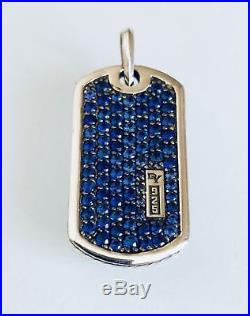 David Yurman 925 Sterling Silver Men Tag Pendant Necklace with Blue Sapphires