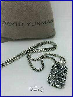 David Yurman 925 Sterling Silver Men's Waves Pendant with Box Chain Necklace 20