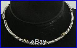 David Yurman 925 Sterling silver/14K Gold high fashion 5mm cable link necklace