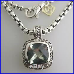 David Yurman Albion Enhanced-pendant with Prasiolite center attached a necklace