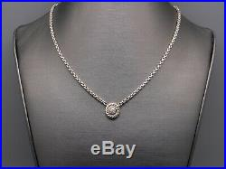 David Yurman Albion Silver 18k Yellow Gold Diamond Pave Cable Necklace 16 inch