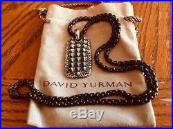 David Yurman Alligator Dog Tag Sterling Silver 18K On 22.5 Black DY Necklace