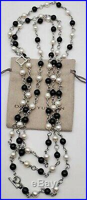 David Yurman Bijoux Bead And Chain With Black Onyx and white Pearl 70 Necklace