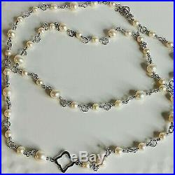 David Yurman Bijoux Silver Chain Necklace with Pearls 6.5-9mm 40 Authentic NEW