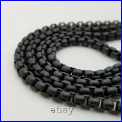 David Yurman Black Stainless Steel 2.7mm Box Chain Link 26 Necklace with Pouch