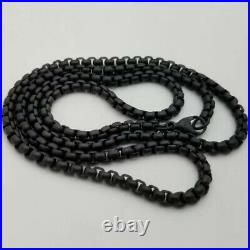 David Yurman Black Stainless Steel 3.6mm Large Box Chain Link 26 Necklace