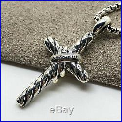 David Yurman Cable Collectibles X Cross Necklace with 14k Gold and Diamonds 18