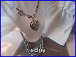 David Yurman Cable Heart Figaro Sterling Silver 18K Gold Toggle Necklace