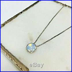 David Yurman Chatelaine Silver Pendant Necklace with Moonstone 16-17 Authentic