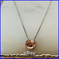 David Yurman Chatelaine Silver Pendant Necklace with Morganite 16-17 Authentic