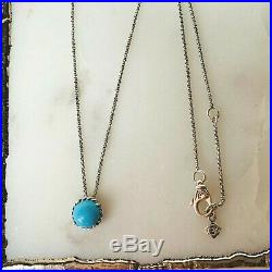 David Yurman Chatelaine Silver Pendant Necklace with Turquoise 16-17 Authentic