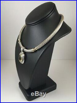 David Yurman Choker Cable Necklace with Pendant in Lemon Citrine in Sterling Sil