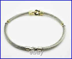 David Yurman Classic. 925 14K Gold Hook&Buckle Twisted 10mm Cable Choker Necklace