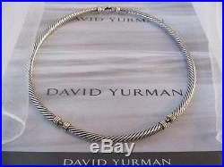 David Yurman Classic Sterling Silver 14K Gold Cable Choker Necklace 5mm