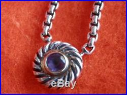 David Yurman Cookie Sterling 14K Gold Amethyst Cable Pendant Necklace 16.5
