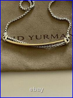 David Yurman Crossover Bar Cable Necklace With 18K Gold Chain 16-17 inches