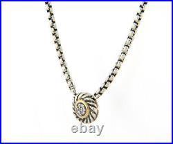 David Yurman Diamond Cookie Pendant Necklace in 18K and Sterling