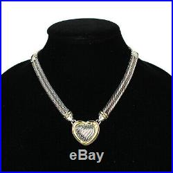 David Yurman Diamond Heart Necklace Sterling Silver 18K Gold Metro Cable Pendent